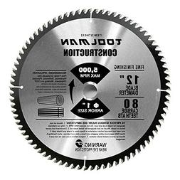 "Toolman Circular Saw Blade Universal Fit 12"" x1"" 80T Carbide"