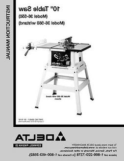 """Delta 36-550 36-560 10"""" Table Saw Instruction Manual"""